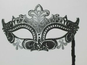 Black and Silver Masquerade Mask  - Mask on a Stick | Masks and Tiaras